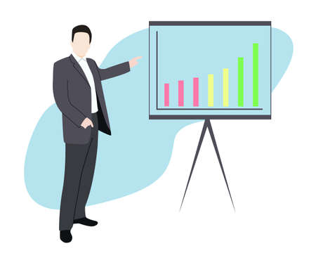 Business People presenting rising omset (omzet) and asset revenue on graph chart illustration