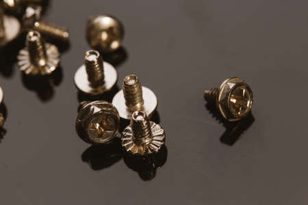 bolts and nuts: screws for a computer on a dark background.