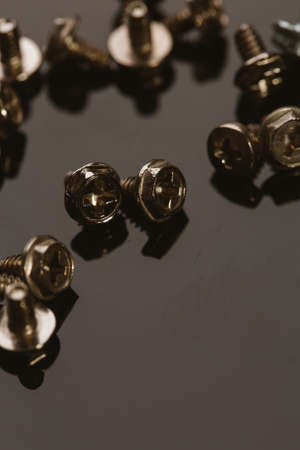 screws for a computer on a dark background.