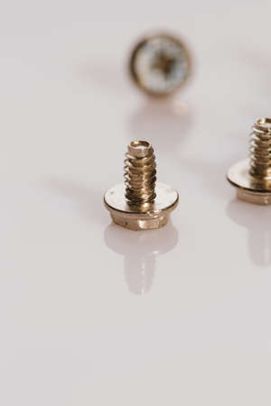 screws for a computer on a white background.