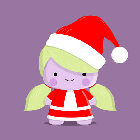 Cute mascot kawaii baby girl use santa costum. Good for Christmas holiday and sticker.
