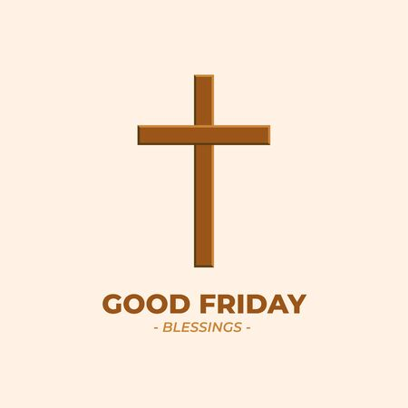 Illustration Vector of Cross Symbol of Christian & Jesus Christ. Good Friday. Indonesian Translation : Jumat Agung.Suitable for Greeting Card, Poster & Banner.