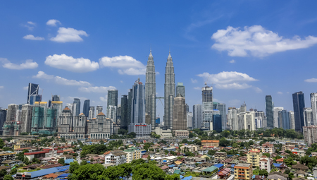 twin tower: View of Kuala Lumpur city with iconic Petronas Twin Tower. Editorial