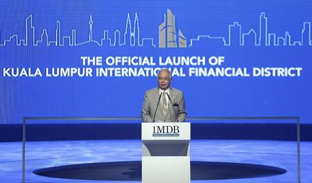 tun: KUALA LUMPUR, MALAYSIA - JULY 30, 2012: Prime Minister of Malaysia, Najib Razak delivers his keynote address during the official launch of Kuala Lumpur International Financial District, Tun Razak Exchange in Kuala Lumpur. Editorial
