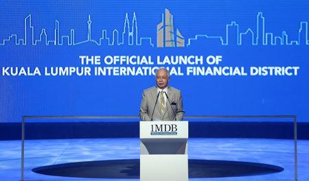 bn: KUALA LUMPUR, MALAYSIA - JULY 30, 2012: Prime Minister of Malaysia, Najib Razak delivers his keynote address during the official launch of Kuala Lumpur International Financial District, Tun Razak Exchange in Kuala Lumpur. Editorial
