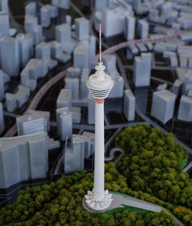 1malaysia: KUALA LUMPUR, MALAYSIA - AUGUST 10, 2016: Scale model of a city showing the Kuala Lumpur Tower (KL Tower).