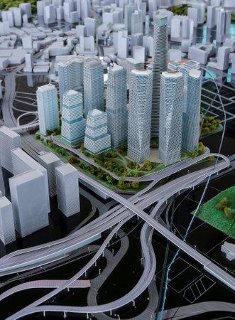 1malaysia: KUALA LUMPUR, MALAYSIA - AUGUST 10, 2016: Scale model of a city showing the project of Tun Razak Exchange (TRX).