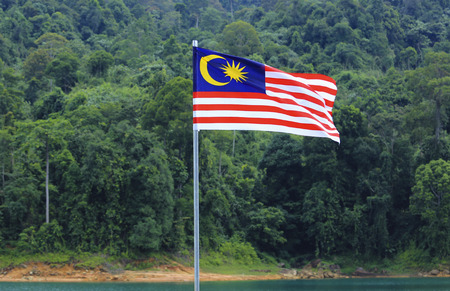 1malaysia: Malaysia Flag, Jalur Gemilang waving with the background of lake and Malaysian rainforest trees.