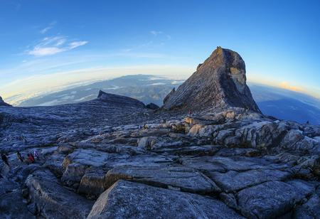 st john: The beauty of St. John Peak (right) and South Peak (left) of Mount Kinabalu, Sabah, Malaysia. Mount Kinabalu or Gunung Kinabalu is the 20th most prominent mountain in the world by topographic prominence.