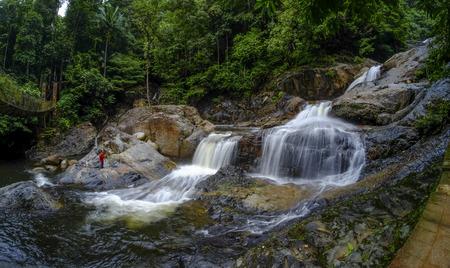 Beautiful nature landscape of Lasir waterfall, Kenyir Lake, Terengganu, Malaysia. Lasir Waterfall also known as Air Terjun Lasir.