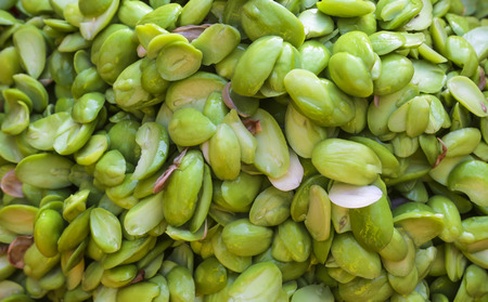 Stack of Parkia Speciosa or Petai on display at market. Stock Photo