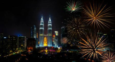 Firework over Kuala Lumpur city, Malaysia skyline at night including majestic view of Petronas Twin Towers. Editorial
