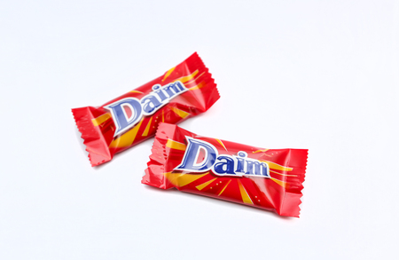KUALA LUMPUR, MALAYSIA - DECEMBER 27, 2016 : Daim Bar. Daim Bar is a brand originated from Sweden, Holland and Norway marketed worldwide. Smooth milk chocolates with a suprisingly crunchy almond caramel centre.