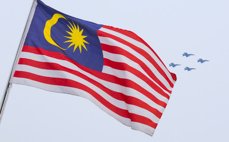 KUALA LUMPUR, MALAYSIA - AUGUST 29, 2016 : Malaysia flag also known as Jalur Gemilang during full dress rehearsal of Independence Day celebration or Merdeka Day at Merdeka Square.