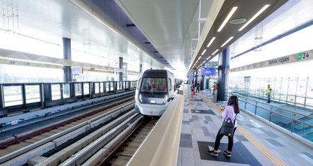Passenger waiting for Malaysia MRT (Mass Rapid Transit) train