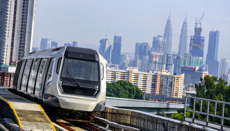 Malaysia MRT (Mass Rapid Transit) train, a transportation for future generation. MRT also bring Malaysia as a developed country. Stock Photo