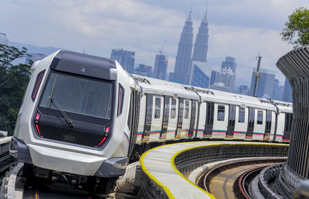 Malaysia MRT (Mass Rapid Transit) train, a transportation for future generation. 版權商用圖片