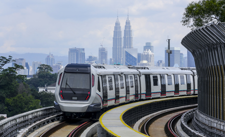 Malaysia MRT (Mass Rapid Transit) train, a transportation for future generation. Zdjęcie Seryjne