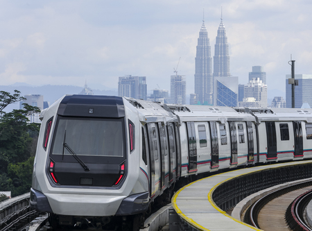 Malaysia MRT (Mass Rapid Transit) train, a transportation for future generation. 스톡 콘텐츠