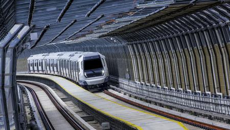 Malaysia MRT (Mass Rapid Transit) train, a transportation for future generation. 版權商用圖片