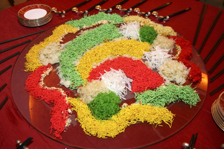 A special dish during Chinese New Year, Yusheng or Yee Sang. Chinese belief eating Yee Sang will give good luck and prosperity.