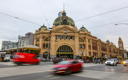 MELBOURNE, AUSTRALIA - MARCH 16, 2018 : Tourist attraction place, Flinders street station the iconic landmark of Melbourne.