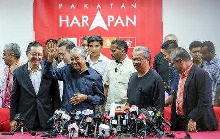 KUALA LUMPUR, MALAYSIA - MAY 12, 2018 : Malaysian Prime Minister Mahathir Mohamad reacts during press conference in Kuala Lumpur. 報道画像