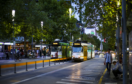 MELBOURNE, AUSTRALIA - MARCH 15, 2018 : Tram in Melbourne city center. Melbourne has the largest urban tramway network in the world. One of tourist attraction.