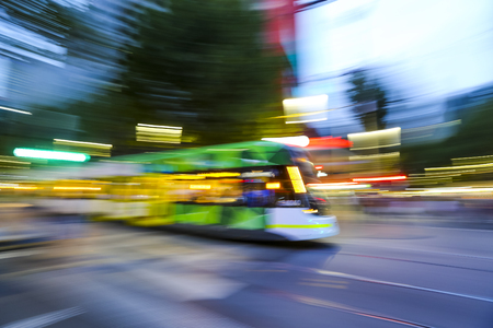 Fast panning effect Tram in Melbourne city center. Melbourne has the largest urban tramway network in the world. One of tourist attraction.
