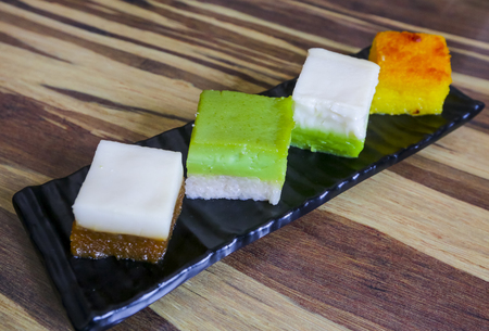 Traditional Malaysian food, variety of delicious and popular assorted sweet dessert or simply known as kueh or kuih. 写真素材