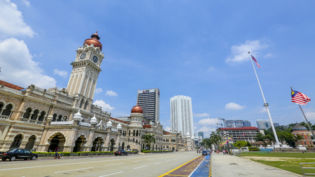 KUALA LUMPUR, MALAYSIA - JUNE 27, 2018 : The iconic Sultan Abdul Samad building at Dataran Merdeka is one of the city's most important tourist attractions and a historical landmark. Editorial