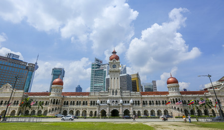 KUALA LUMPUR, MALAYSIA - JUNE 27, 2018 : The iconic Sultan Abdul Samad building at Dataran Merdeka is one of the cityÕs most important tourist attractions and a historical landmark.