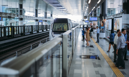 KUALA LUMPUR, MALAYSIA : NOVEMBER 13, 2017 : Passenger waiting for Malaysia MRT (Mass Rapid Transit) train at Semantan Station. MRT is a new transportation for future generation in Malaysia.