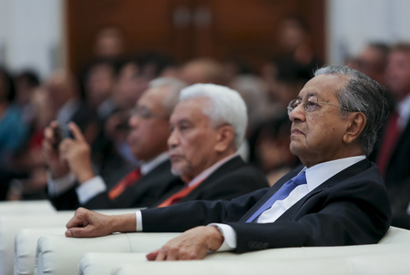 KUALA LUMPUR, MALAYSIA - AUGUST 27, 2018 : Malaysia Prime Minister Mahathir Mohamad (right). Malaysian politician currently serving as the Prime Minister of Malaysia for the second time.