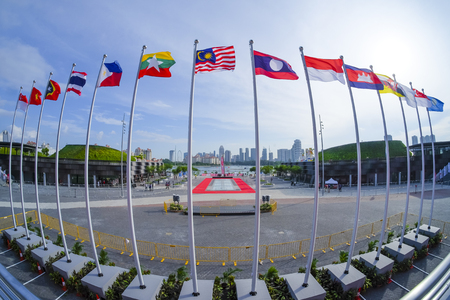 View of national flags of Southeast Asia countries; Brunei Darussalam, Myanmar  Burma, Cambodia, Indonesia, Laos, Malaysia, Philippines, Singapore, Thailand, Vietnam, East Timor.