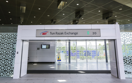 KUALA LUMPUR, MALAYSIA : SEPTEMBER 14, 2017 : Entrance of Tun Razak Exchange Mass Rapid Transit (MRT) stations. MRT alleviate the severe traffic congestion in the KL metropolitan area. 에디토리얼