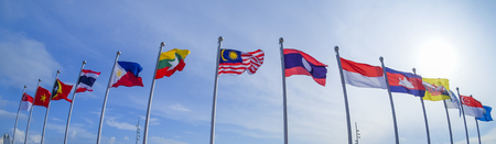 View of national flags of Southeast Asia countries; Malaysia, Laos, Singapore, Brunei Darussalam, Myanmar  Burma, Cambodia, Indonesia, Philippines, Thailand, Vietnam, East Timor. 報道画像