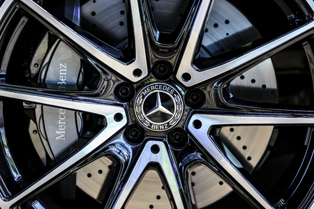 KUALA LUMPUR, MALAYSIA - AUGUST 24, 2018 : Mercedes-Benz S560 Cabriolet wheel. Dream Car Collection.