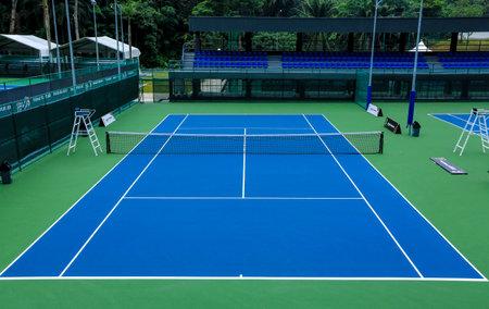 KUALA LUMPUR, MALAYSIA - MARCH 08, 2017 : Outdoors blue tennis court.