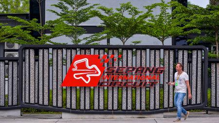 SEPANG, MALAYSIA -  SEPTEMBER 29, 2017 : Sepang International Circuit (SIC) Malaysia logo on signboard at paddock entrance. Venue for the Motorcycle Grand Prix MotoGP & other major motorsport events. 報道画像