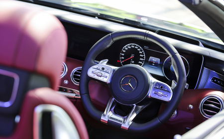 KUALA LUMPUR, MALAYSIA - AUGUST 24, 2018 : Interior of Mercedes-Benz S560 Cabriolet. Dream Car Collection. Redakční