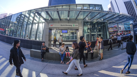 KUALA LUMPUR, MALAYSIA : JULY 17, 2017 : Entrance of Bukit Bintang Mass Rapid Transit (MRT) stations. MRT alleviate the severe traffic congestion in the KL metropolitan area. 報道画像