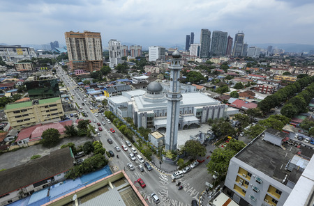KUALA LUMPUR, MALAYSIA - JULY 18, 2018 : Masjid Jamek Kampung Baru or Kampung Baru Mosque. Kampung Baru is a traditional village in Kuala Lumpur city centre.