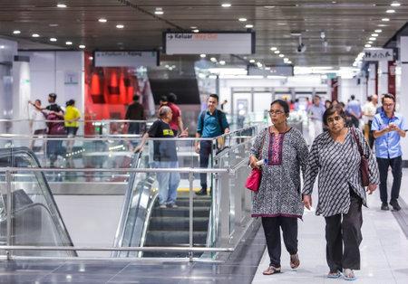 KUALA LUMPUR, MALAYSIA : JULY 17, 2017 : Passenger at Bukit Bintang Mass Rapid Transit (MRT) stations. MRT alleviate the severe traffic congestion in the KL metropolitan area.