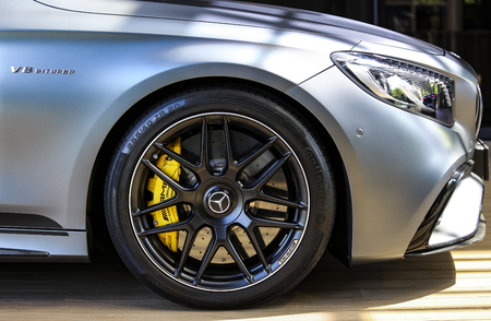 KUALA LUMPUR, MALAYSIA - AUGUST 24, 2018 : Detail of Mercedes-Benz AMG S63 Coupe. Dream Car Collection. 報道画像