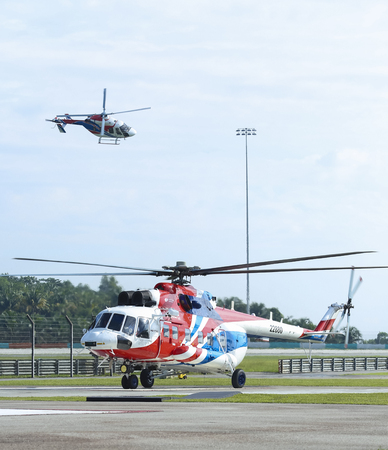 SEPANG, MALAYSIA - DECEMBER 03, 2018 : Russian Helicopter, Mi-171A2 is an advanced medium multirole helicopter. Stok Fotoğraf - 116396031
