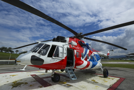SEPANG, MALAYSIA - DECEMBER 03, 2018 : Russian Helicopter, Mi-171A2 is an advanced medium multirole helicopter. Stok Fotoğraf - 116396052