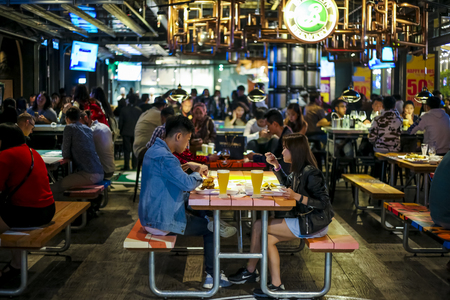 GENTING HIGHLAND, MALAYSIA - OCTOBER 05, 2018 : Genting Highland latest attraction, High Line Roof Top Market offer outdoor dining in the cool and fresh air. Variety of food and drinks, casual dining. Redakční