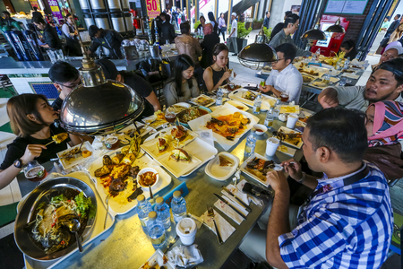 GENTING HIGHLAND, MALAYSIA - OCTOBER 05, 2018 : Genting Highland latest attraction, High Line Roof Top Market offer outdoor dining in the cool and fresh air. Variety of food and drinks, casual dining.