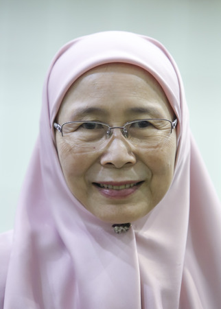 KUALA LUMPUR, MALAYSIA - APRIL 28, 2018 : President Peoples Justice Party (PKR) Wan Azizah a candidate for Pakatan Harapan in Pandan (P100) parliament during nomination day 14th general election. Editorial